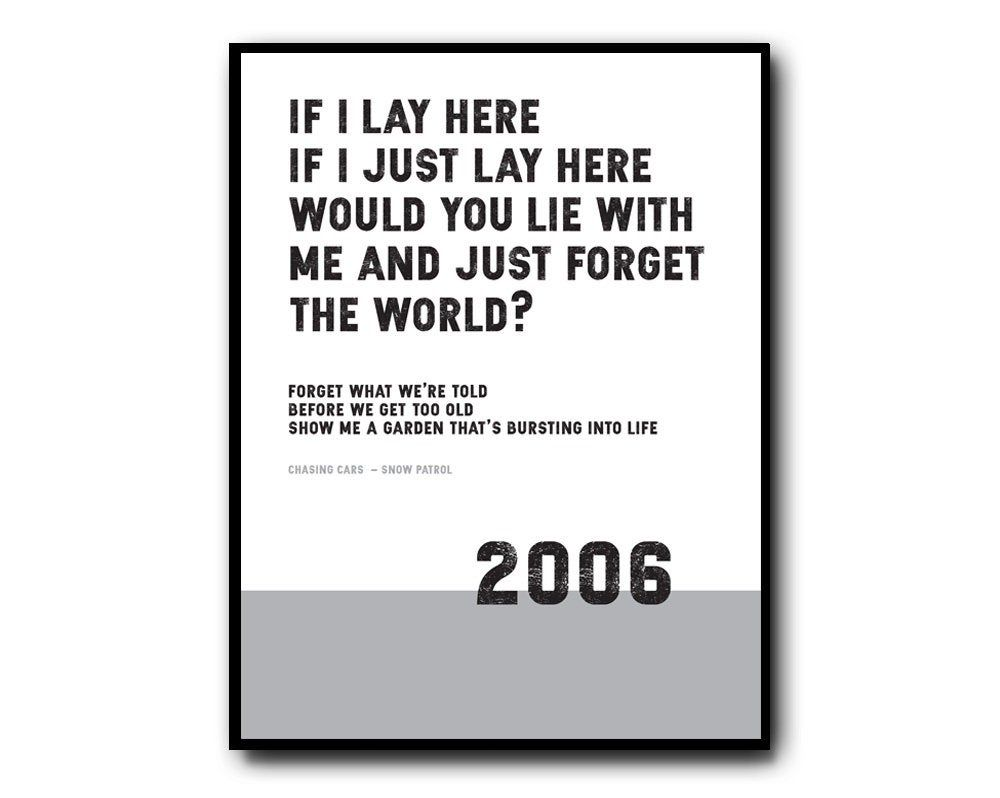 Chasing Cars - Snow Patrol Lyrics Print. Available in a variety of sizes and colours.