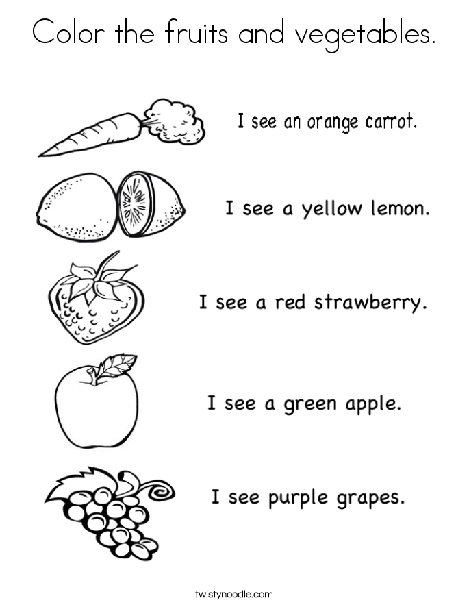 Vegetable Coloring Sheet