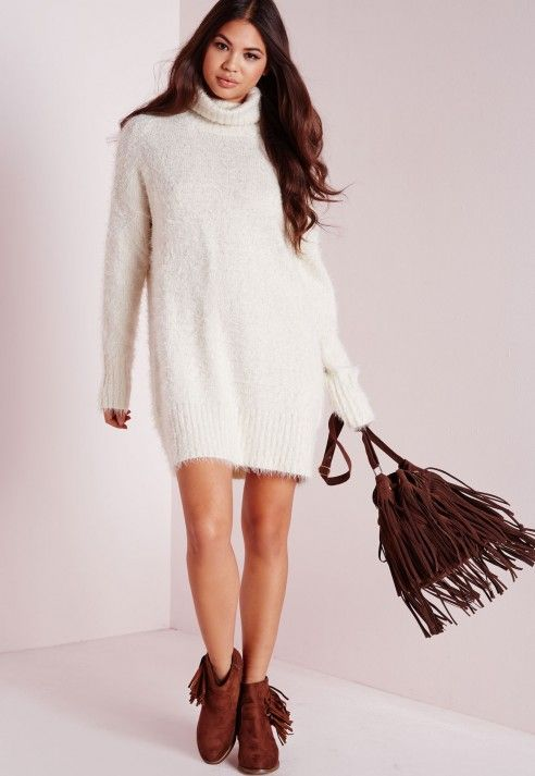 a06114f08c Women s Fluffy Oversized Polyester Jumper. Missguided - Fluffy Roll Neck Sweater  Dress Off White ...