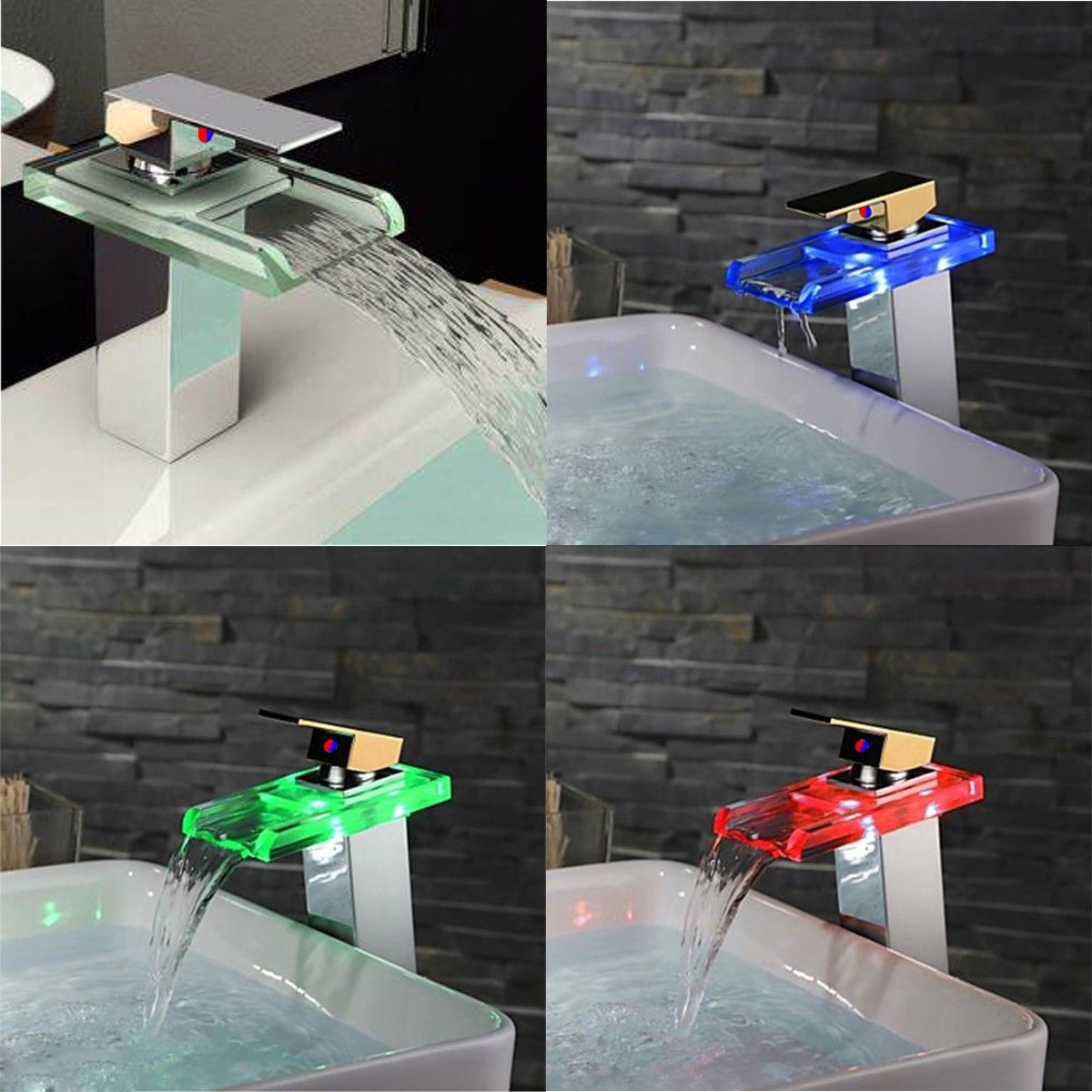 Fashion Creative Smart LED Glass Color Changing Waterfall Basin Sink ...