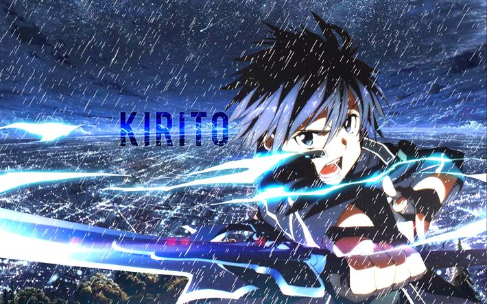 Descargar fondos de pantalla Kirigaya Kazuto, la lluvia, el manga, el protagonista, Espada de ...