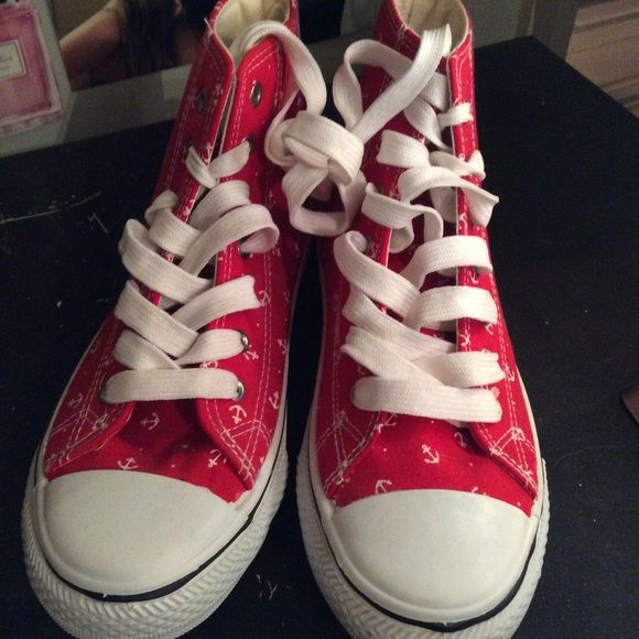 Red with white anchor fake converse