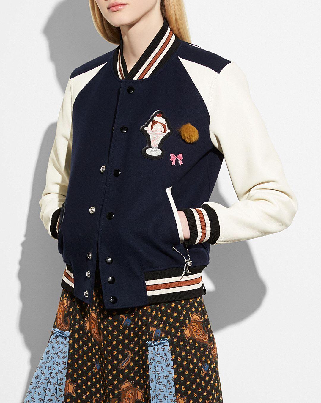 VARSITY JACKET Jackets, Varsity jacket, Blue leather jacket