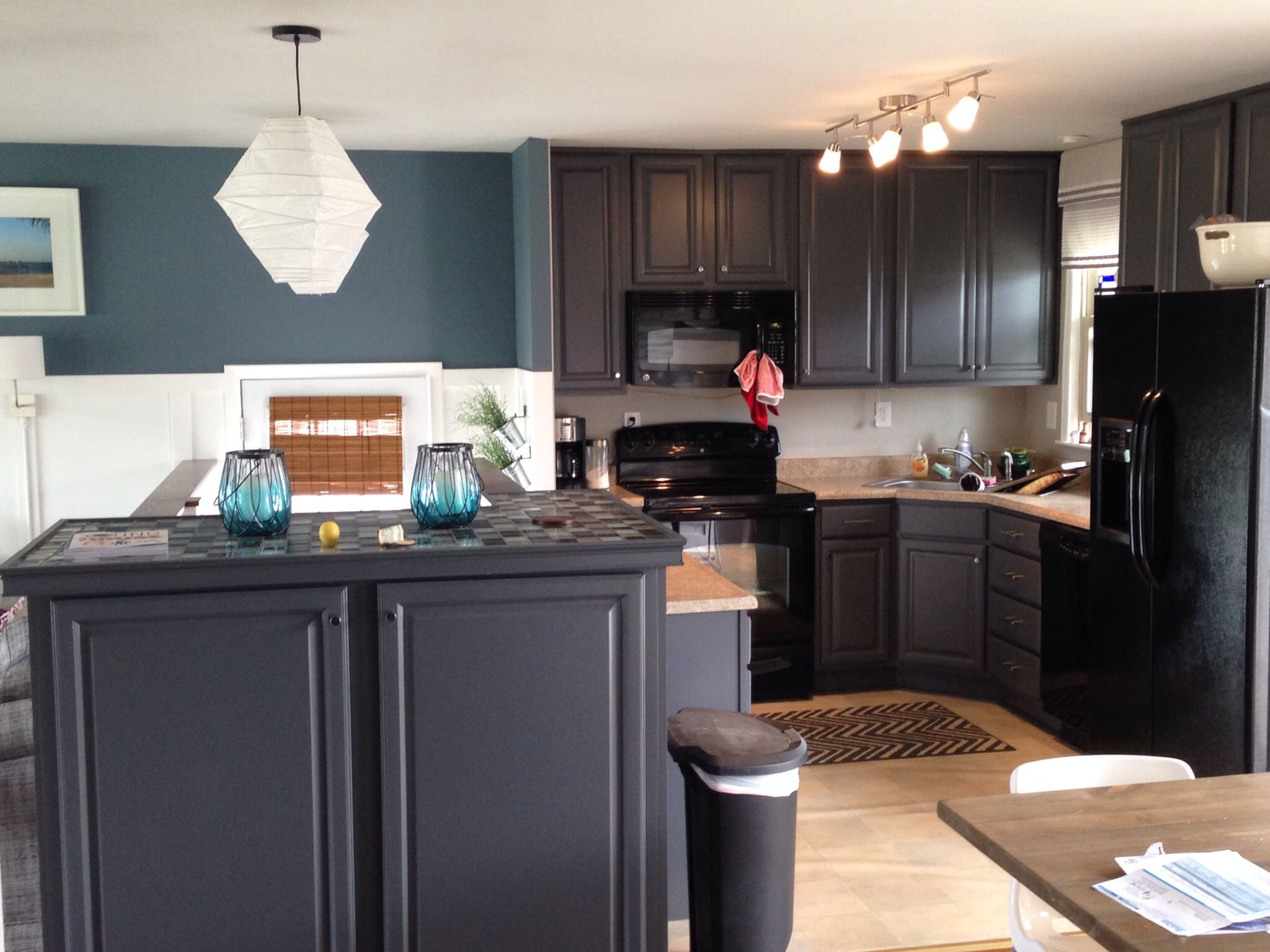 Sherwin-williams Countertop Paint My Kitchen Blue Slate Walls And Peppercorn Cabinets By Sherwin
