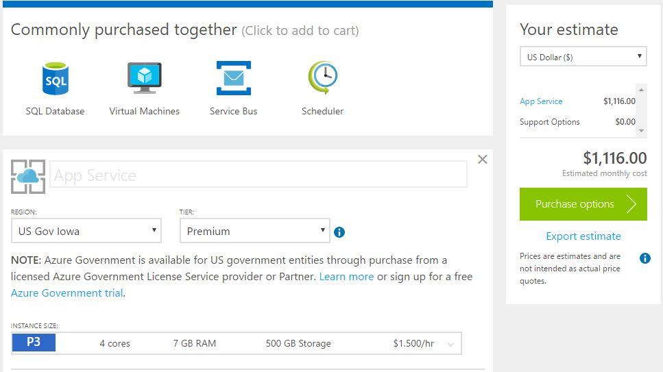 Microsoft Releases Pricing Calculator for Azure Government: The Azure calculator has been updated with US Government options for both Iowa…