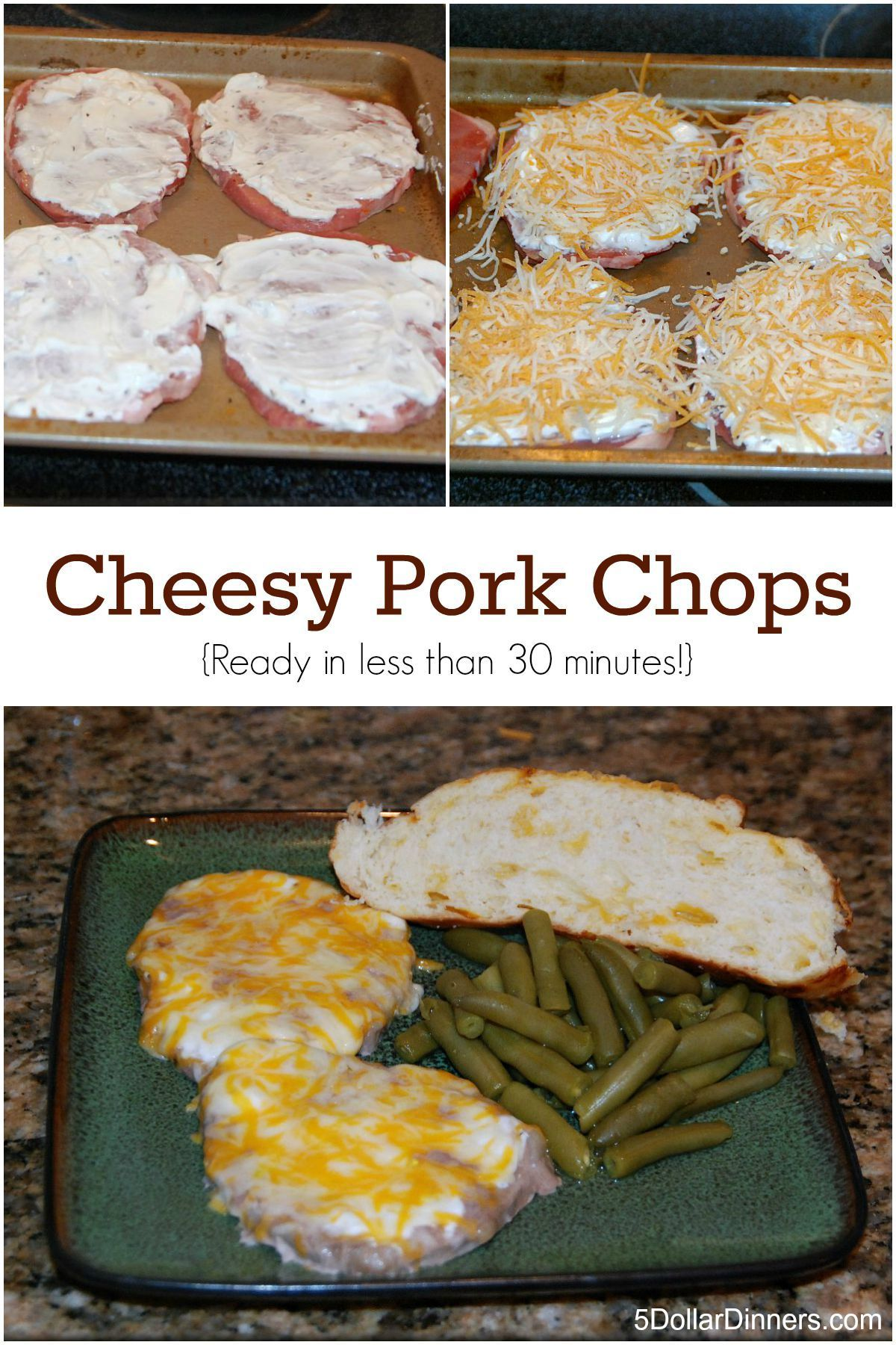Cheesy Pork Chops - $5 Dinners | Recipes, Meal Plans, Coupons #grilledporkchops