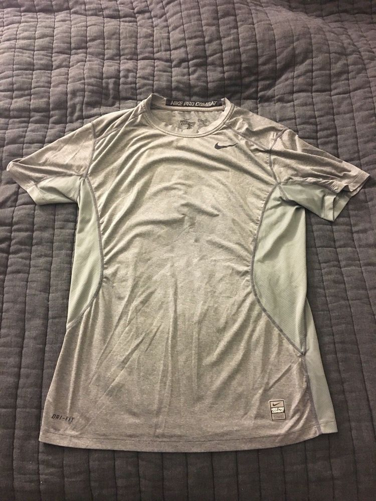 new product 2ab4a 00c08 LOT 2 Nike Pro Combat Dri Fit Fitted Gray Blue Workout Training Shirt M  Medium