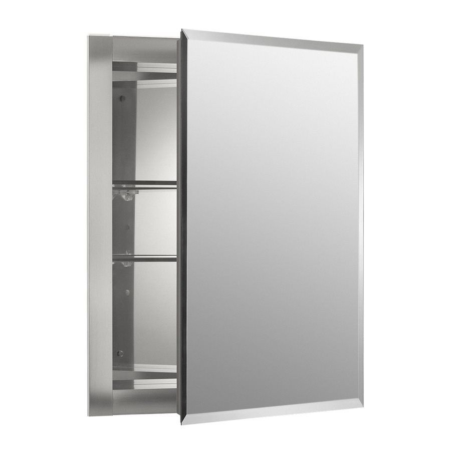 Shop Kohler 16-in x 20-in Rectangle Recessed Aluminum Medicine ...