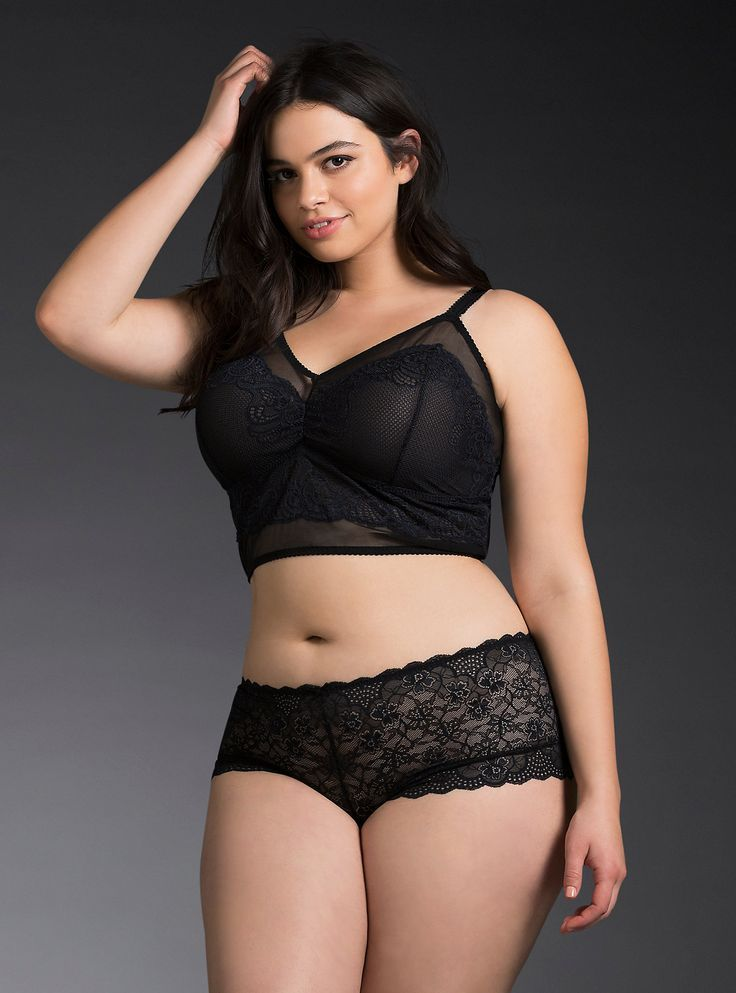 07091dfd0b88c Plus Size Lace Overlay Mesh Bralette   Cheeky Panty