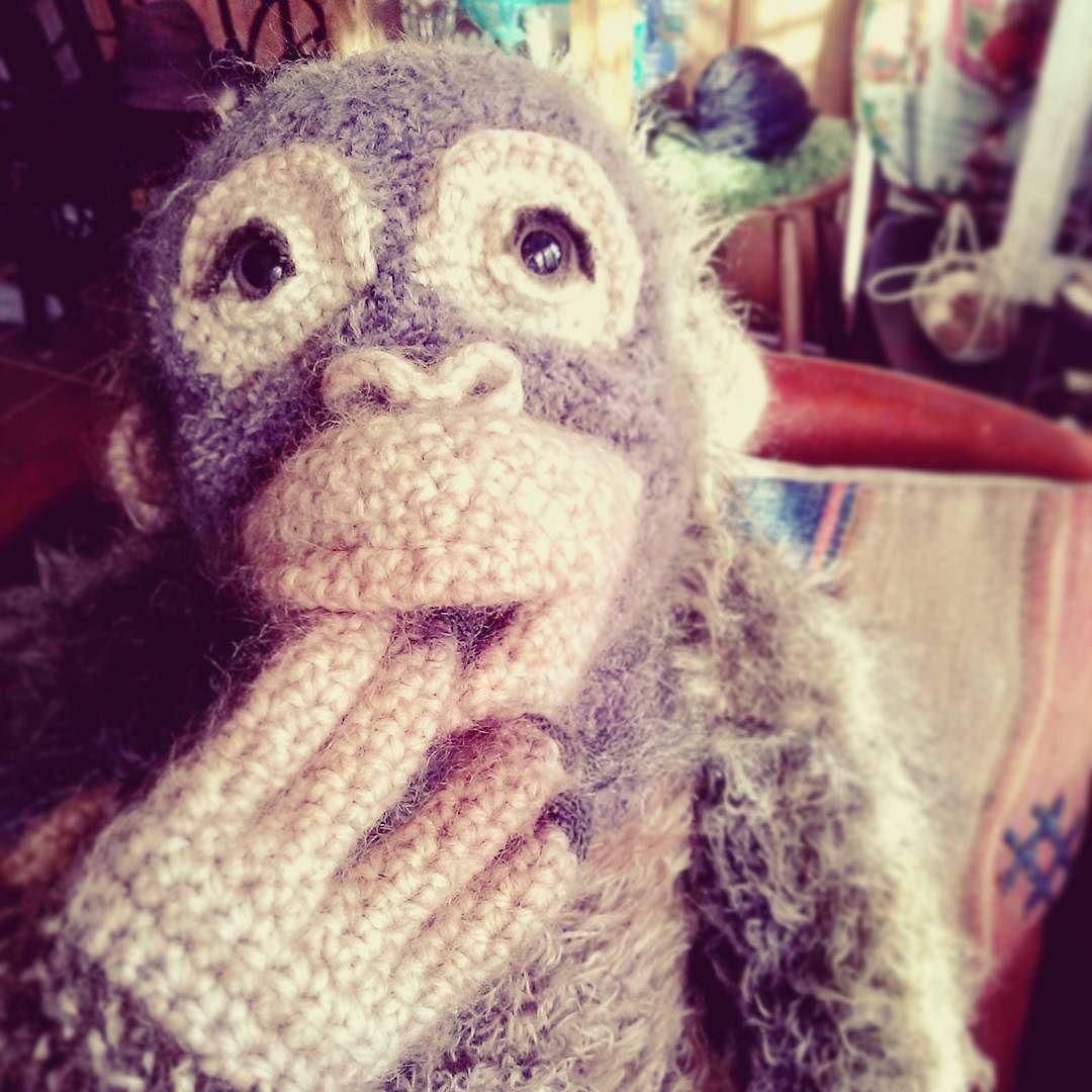 おなか空いた I'm hungry    #あみぐるみ #あみぐるみ作家 #リュミエナ #かぎ針編み #編み物 #ニット #オランウータン #森の人 #毛糸 #オラン藤田 #amigurumi #crochet #knitting #instaamigurumi #instacrochet #animal #orangutan #hook #pongo #yarn #wip #lumiena #crochetdoll #crochetanimal #OrangFujita by lumiena_amigurumi