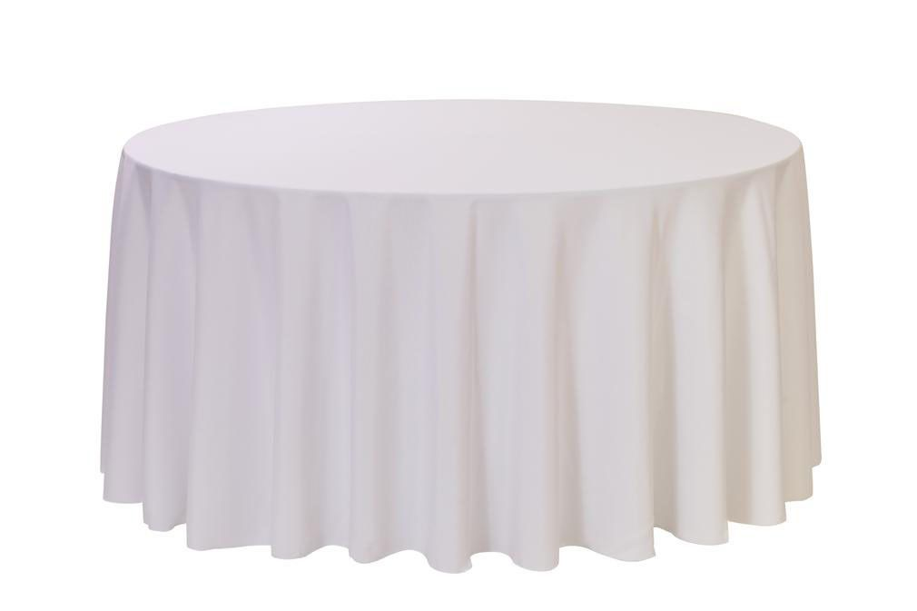 120 Inch Round Polyester Tablecloth White White Round