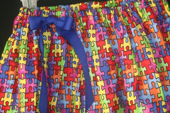 4t Autism Awareness Puzzle Piece Skirt by lClaireBearBoutiquel, $8.00