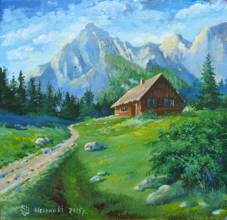 Landscape Oil Painting Original Landscape Painting Forest House Mountains Original Mountain Landscape Painting Oil Painting Landscape Landscape Paintings