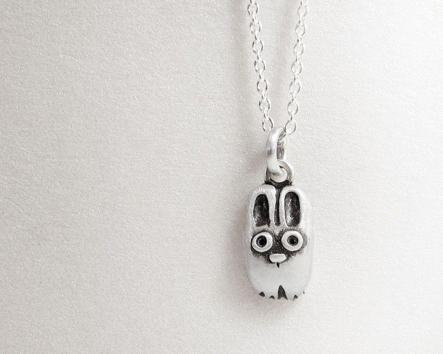 Very tiny rabbit necklace - silver bunny pendant eco friendly animal jewelry recycled. $34.00, via Etsy.