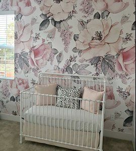 Bungalow Rose Mayfair Removable Nursery Watercolor Vintage Floral