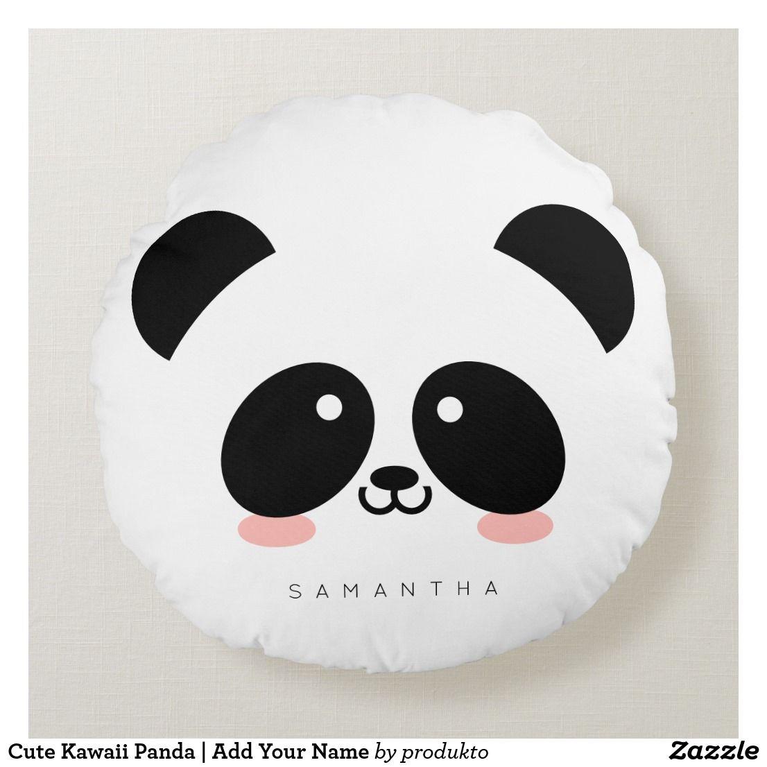 Cute Kawaii Panda Add Your Name Round Pillow Zazzle