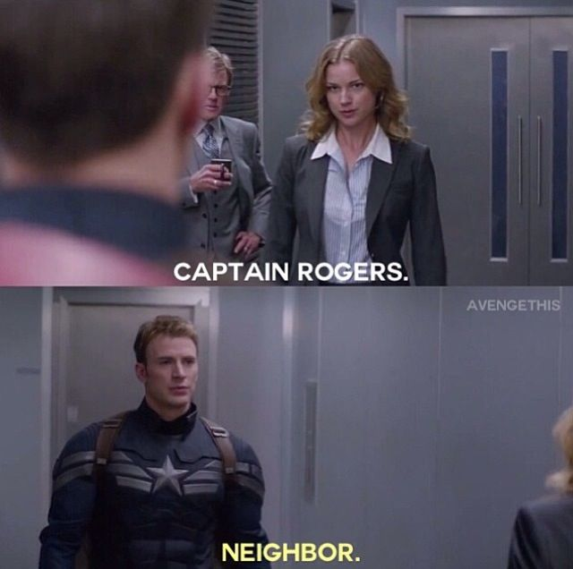 OH OH OH! Captain America: Winter Soldier was basically Captain America's version of Mr. Roger's neighborhood! (70 years later) Thought we wouldn't notice, but we did.