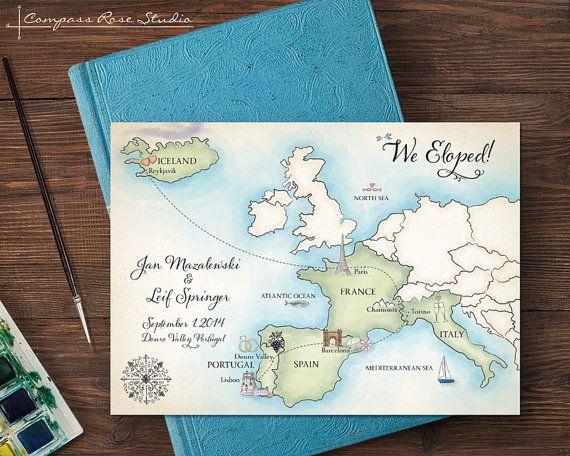 Custom Wedding Map Any Location Watercolor Wedding Invitation