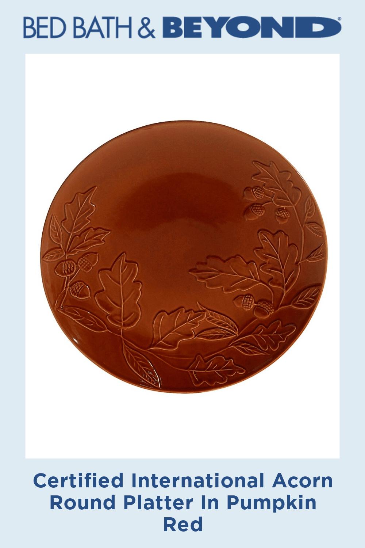 Certified International Acorn Round Platter In Pumpkin Red