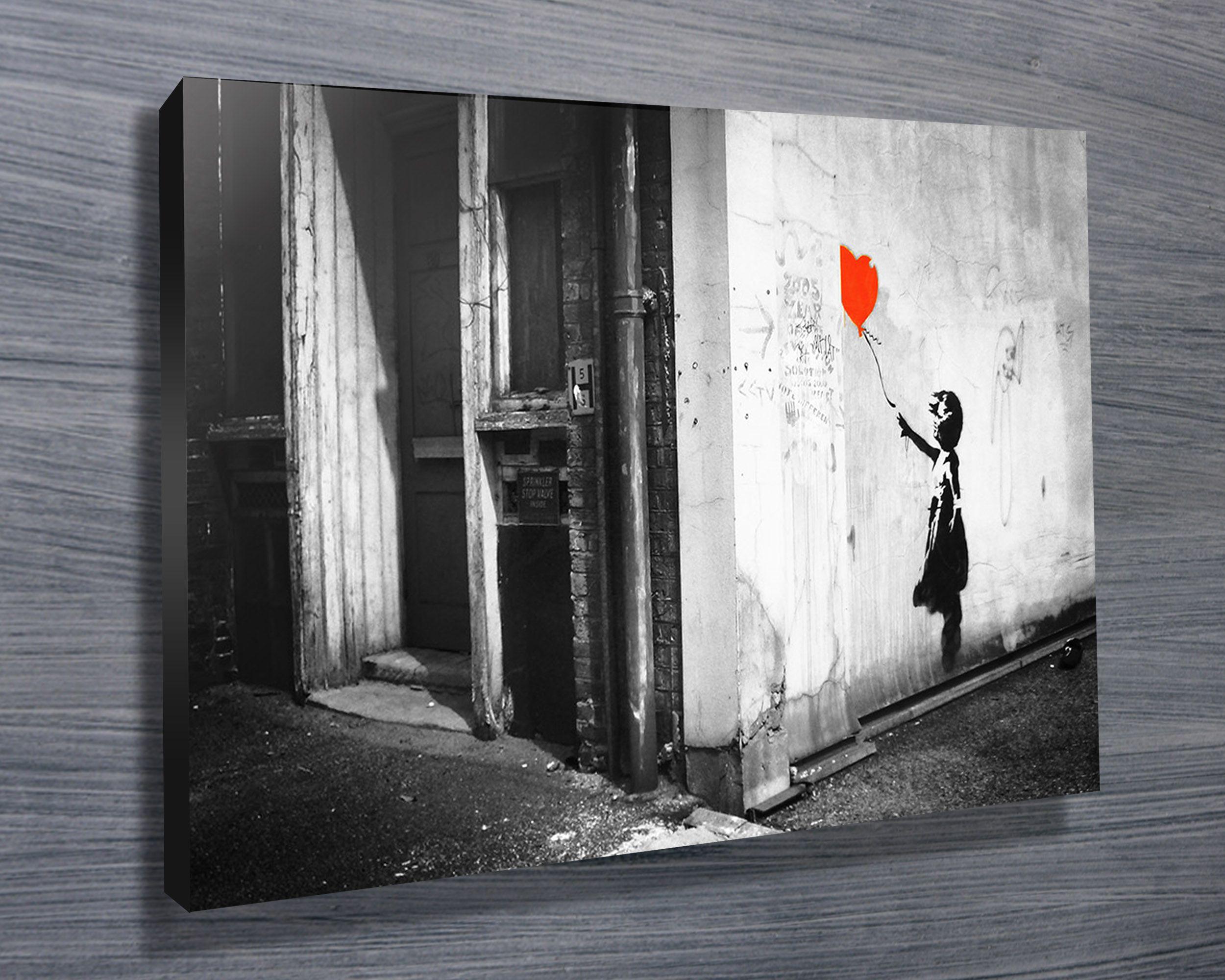 Uber cool black u white banksy balloon girl street art canvas from