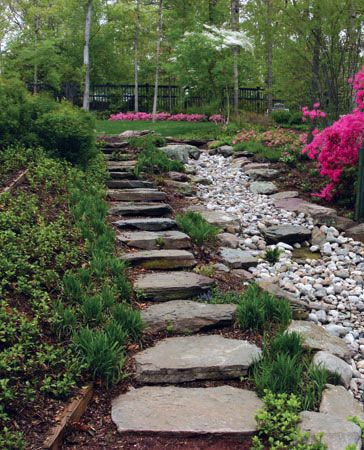 Dry Creek Bed Effect On Slope With Stairs Via Merrifield Garden Center Merrifield Gardens Landscaping With Rocks Garden Paths