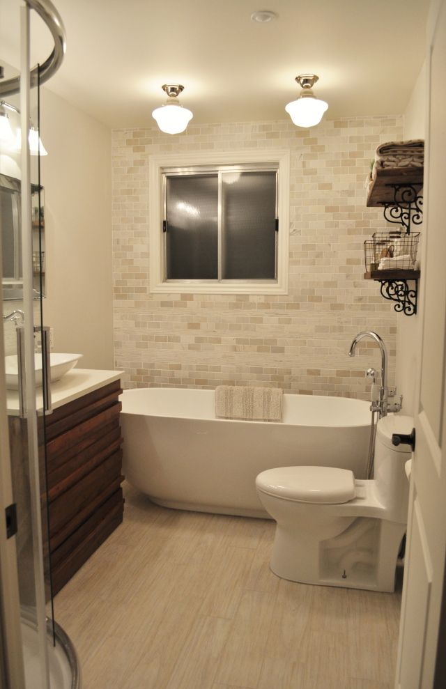 Full Bathroom Designs Cool Guest Bathroom Before And After  Brick Accent Walls Bricks And 2018