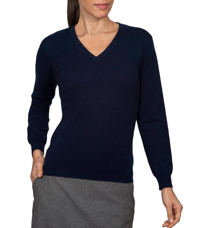 Wool Overs Women's Cashmere & Merino V Neck Sweater at Amazon ...