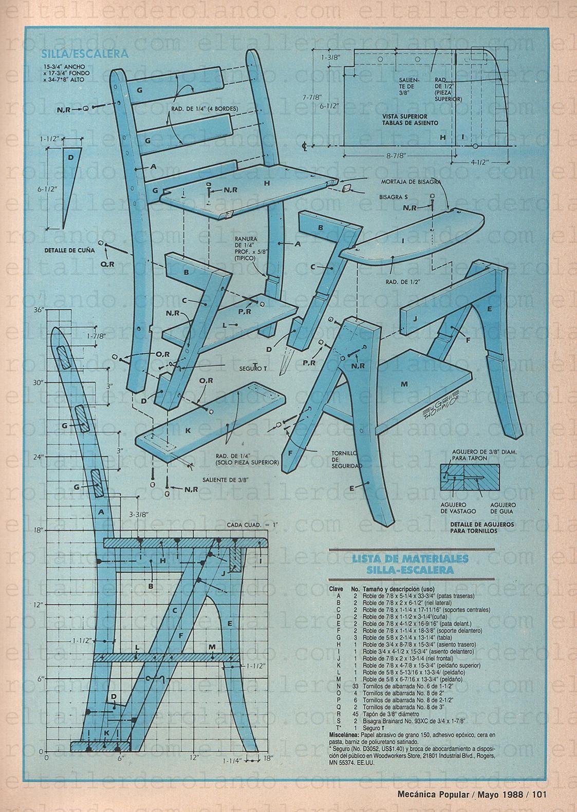 Util silla escalera mayo 1988 004 copia love it en 2019 for Silla escalera de madera