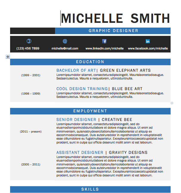 Free Resume Download Graphic - Microsoft Word Format ...