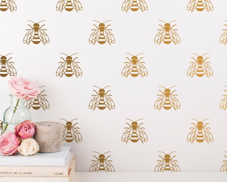 Col128 Full Color Wall Decals Vinyl Sticker Bee Honeybee Bugs Foliage Set