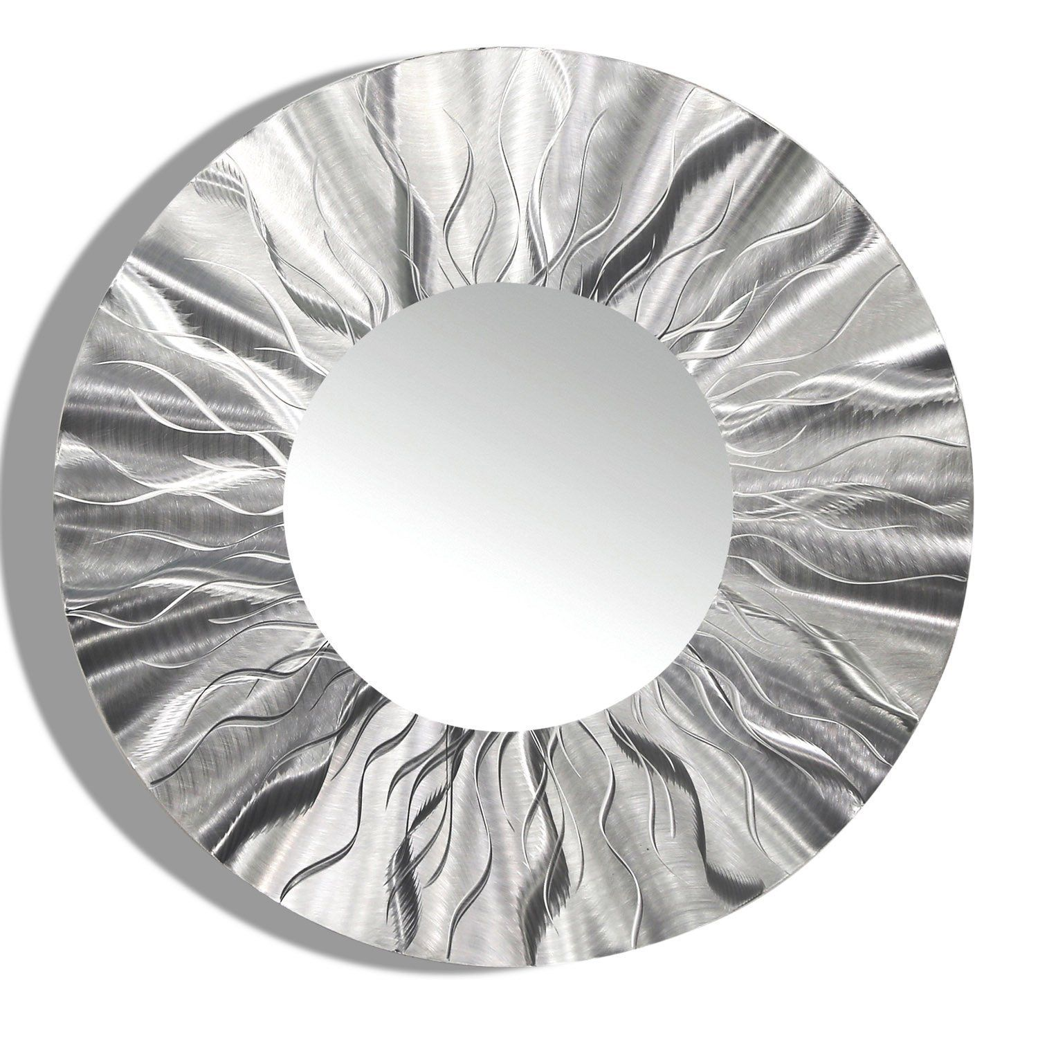 Large Round Silver Modern Metal Wall Art Contemporary Wall Mirror