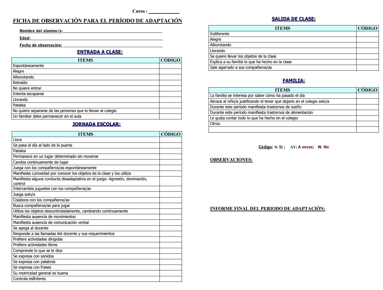 Ficha Observación Periodo Adaptación Ficha De Observacion Evaluaciones Para Preescolar Fichas