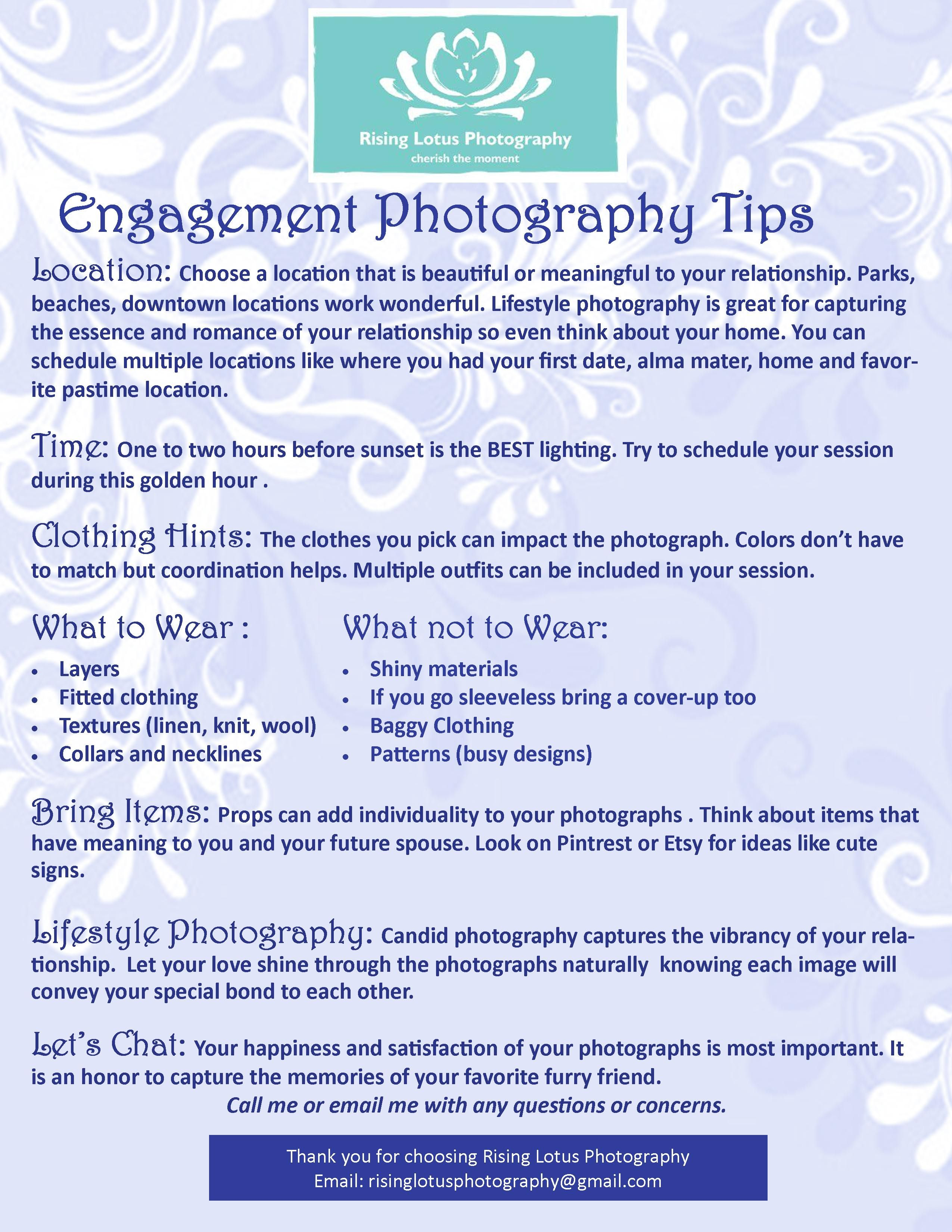 Engagement Photography tips.  Risinglotusphotography.com