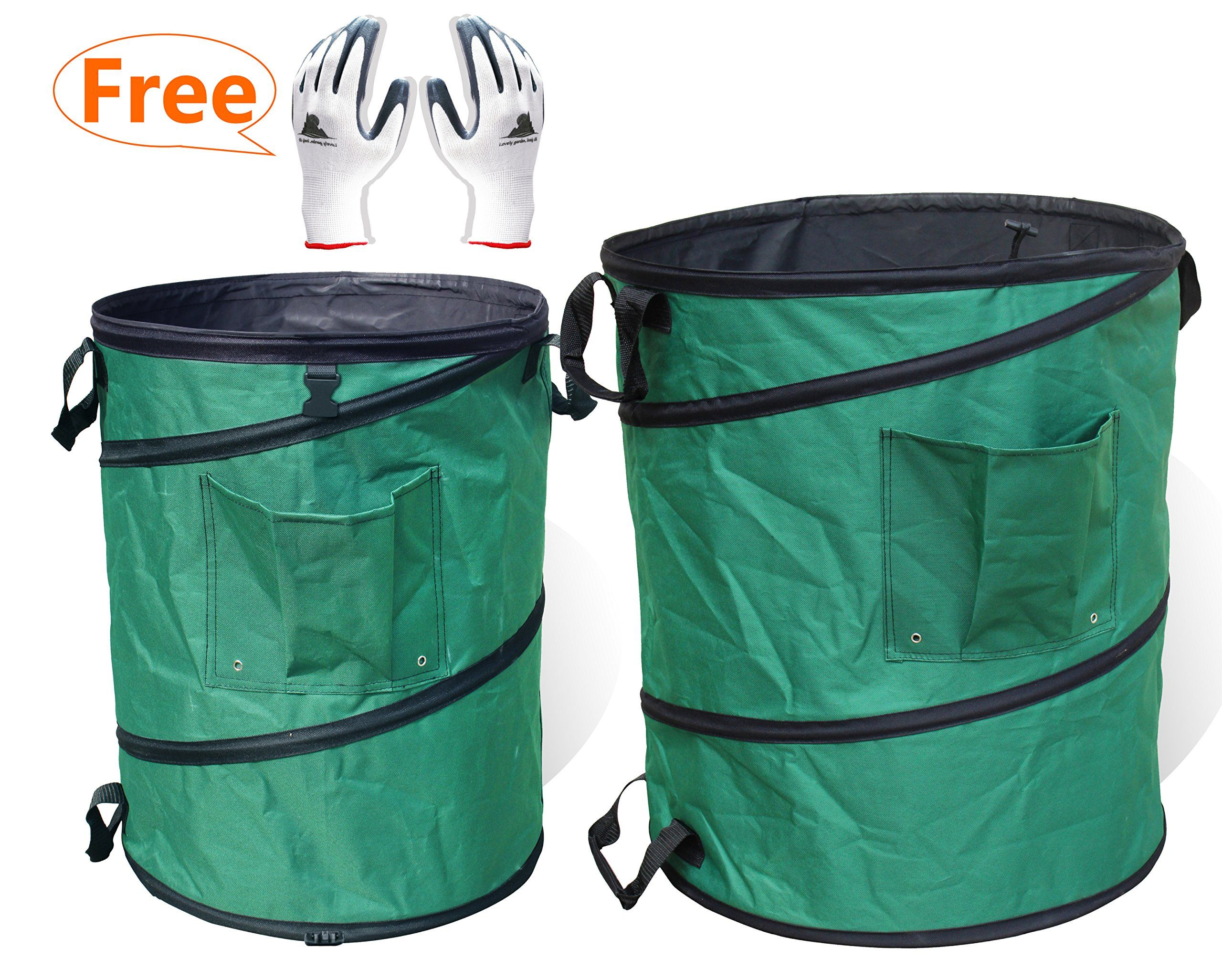 Gardzen 45 Gallon Pop Up Garden Bag With Extra 30 Come Gloves Heavy Duty Reusable Gardening Yard Lawn And Leaf Waste Trash Tool
