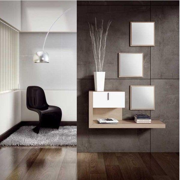Recibidor de dise o moderno con tres espejos decor for Casa paulina muebles y decoracion