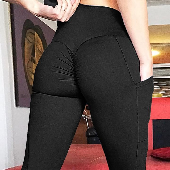 0a28288d4cbad ... Yoga Pants Leggings Sport Gym Running High Waist Trousers Black. Booty  Scrunch Push up Leggings with Side Pockets