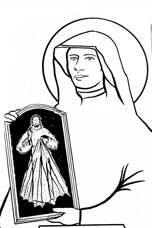 Saint Marie Faustina Kowalska coloring page (With images