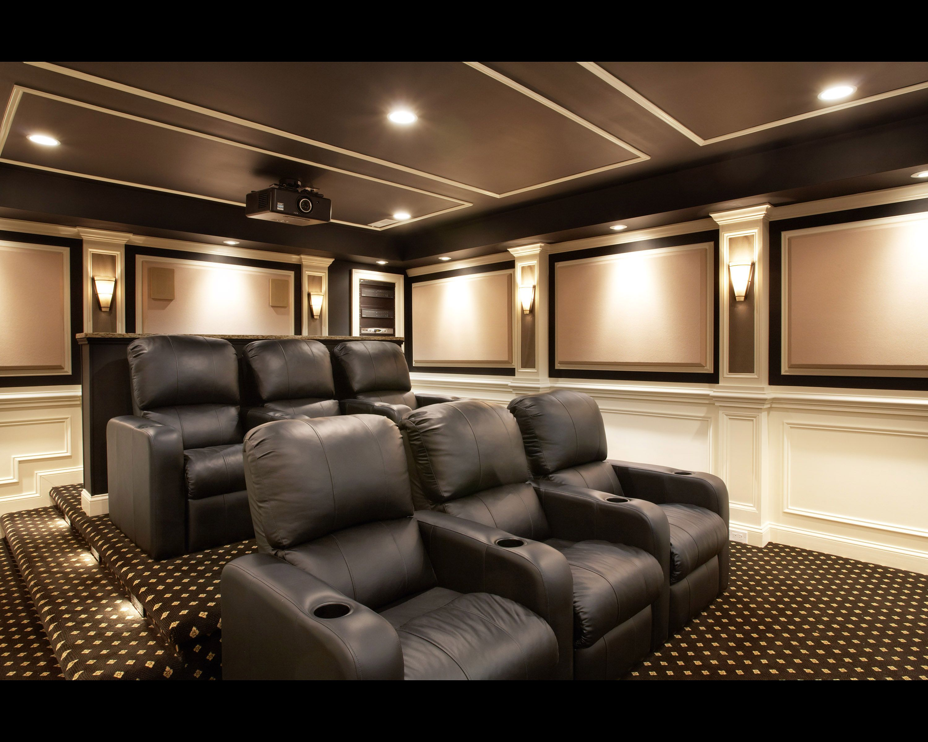 Exterior: Stupendous Room With Black Sofa On Motive Carpet Under Lighting  On Interesting Ceiling Plus Simple Projector And Wall Lamp For Home Theater  Design ...