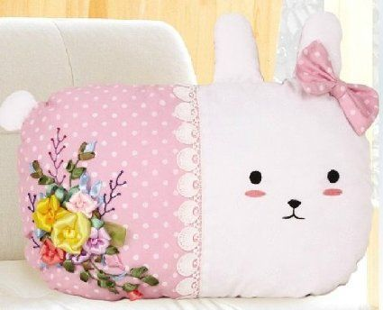 Cute Easter Bunny Pillow from Blue Moon Needlecrafts St&ed Ribbon Embroidery Kit Easter Bunny & Cute Easter Bunny Pillow from Blue Moon Needlecrafts Stamped ... pillowsntoast.com