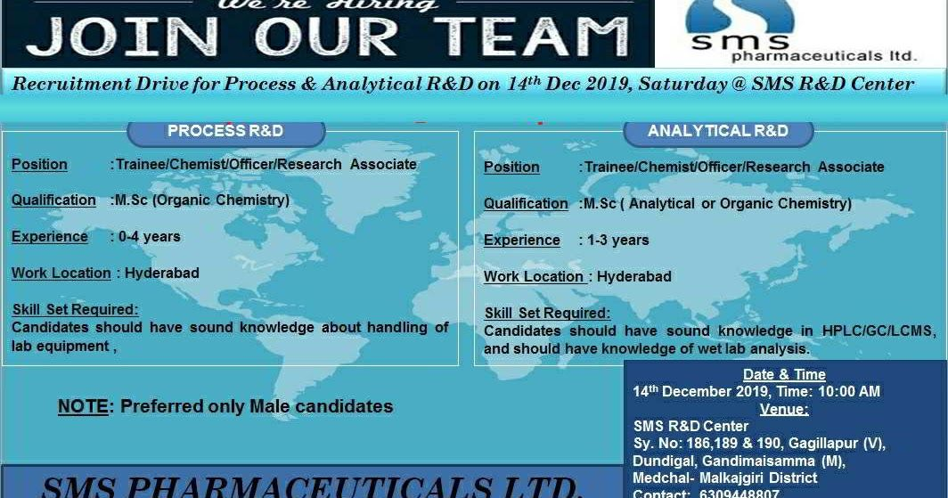 SMS Pharmaceuticals walkin interview for Freshers and