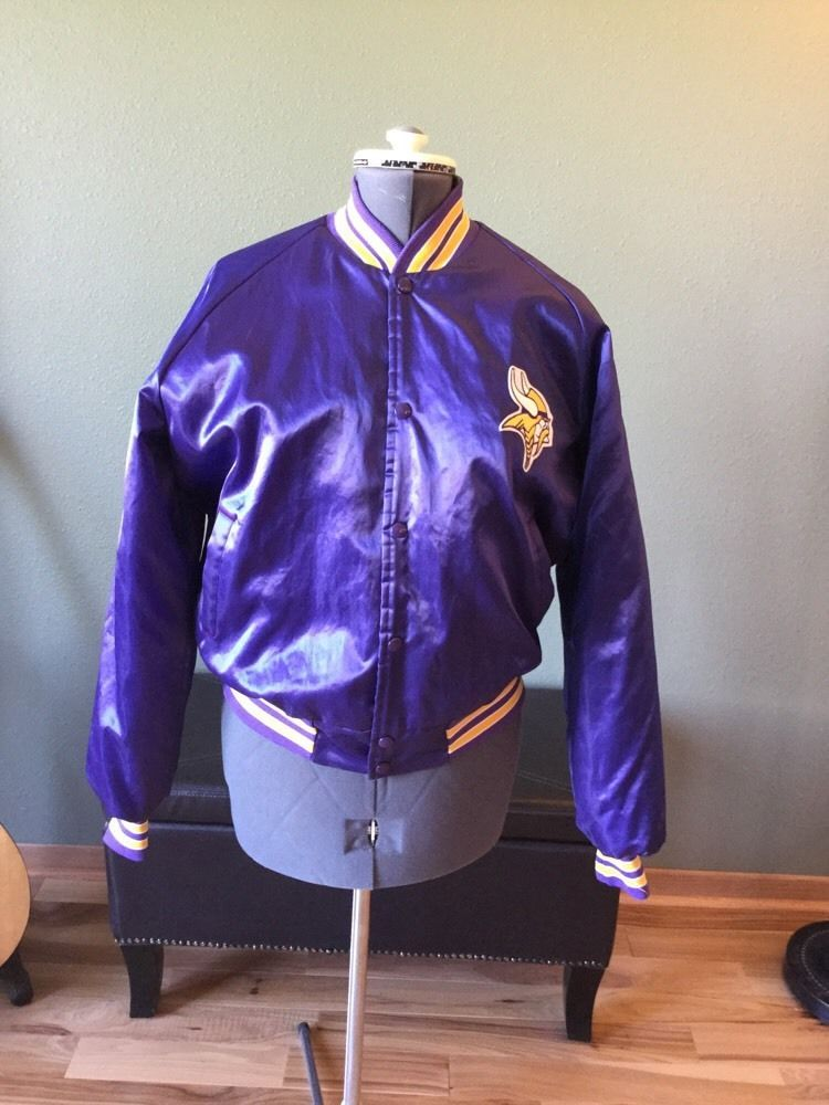 new product 84515 0cb11 Vtg 80's Lrg Chalk Line Satin MN Vikings Jacket Coat ...