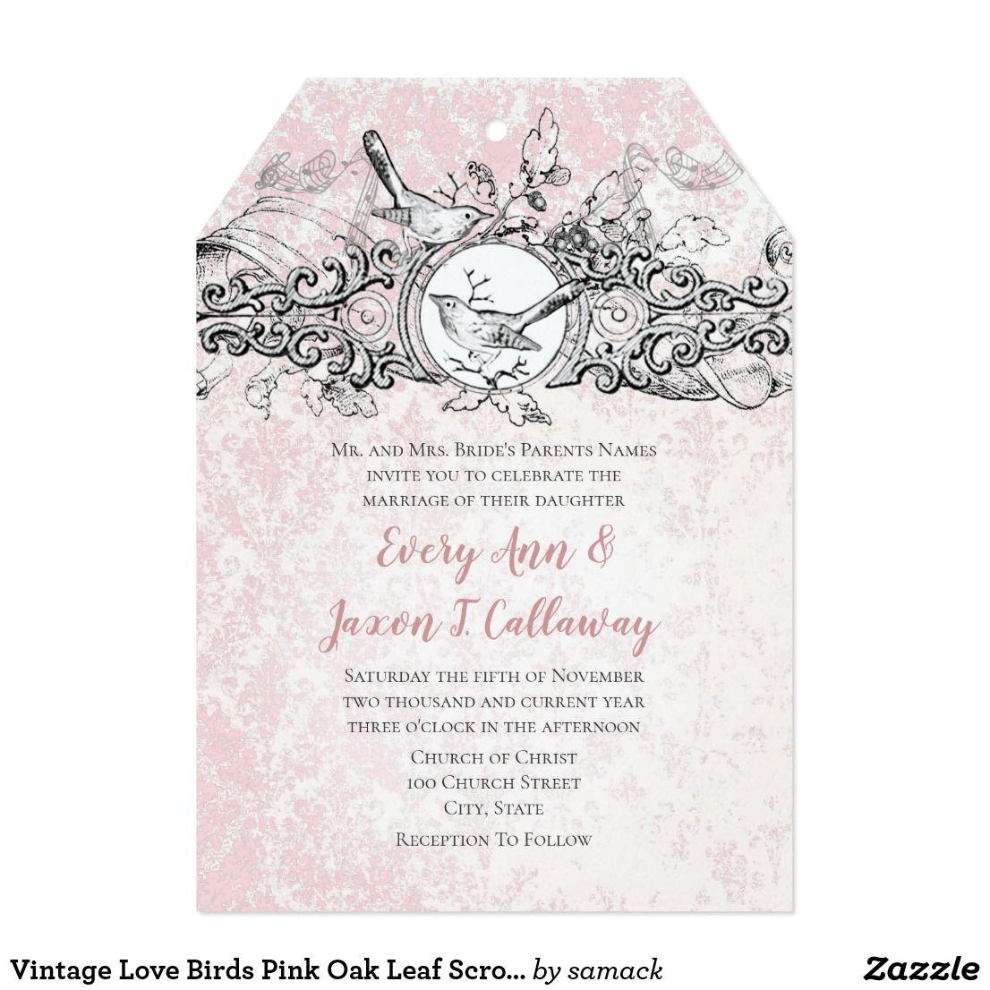 Vintage Love Birds Pink Oak Leaf Scroll Wedding Card | Invites ...