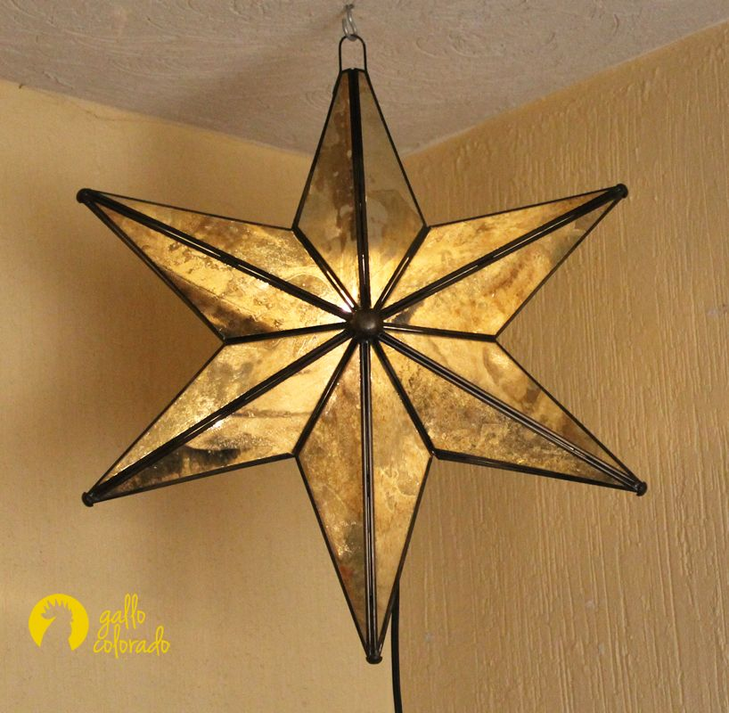 6 Pointed Antique Mirror Glass Star Light Mexican