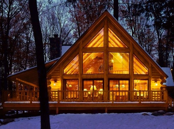 Someday my cabin with a wrap around porch and big windows for Windows for log cabins
