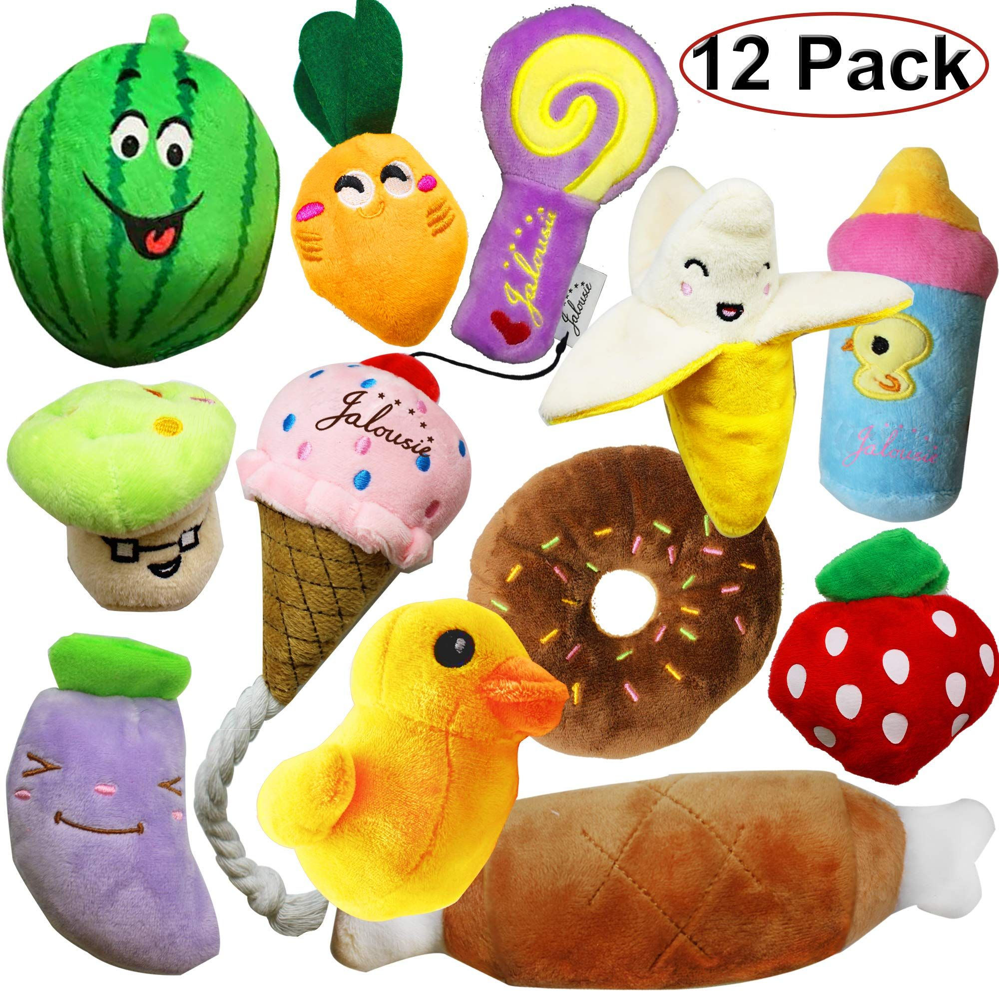 Jalousie 12 Pack Dog Squeaky Toys Cute Plush Toys For Small Medium