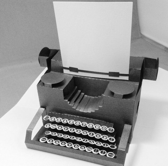 Typewriter Popup Card With Keys Blank Paper Typewriter Pop Up Pop Up Cards