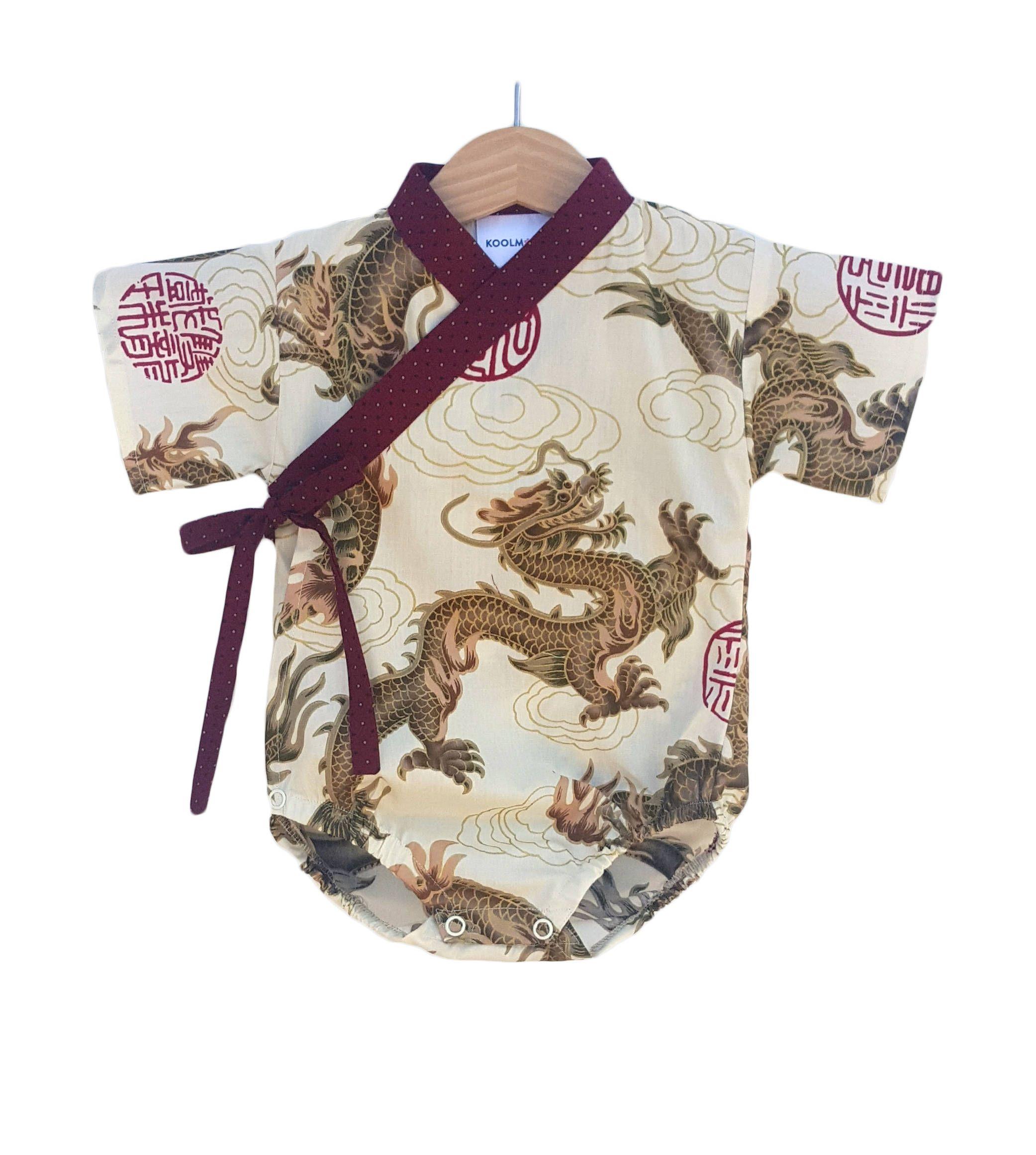 Baby Kimono Bodysuit - BEIGE DRAGON - Japanese kimono onesie for