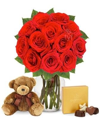 It's a perfect gift for valentine having flowers, chocolates and lovely bear.