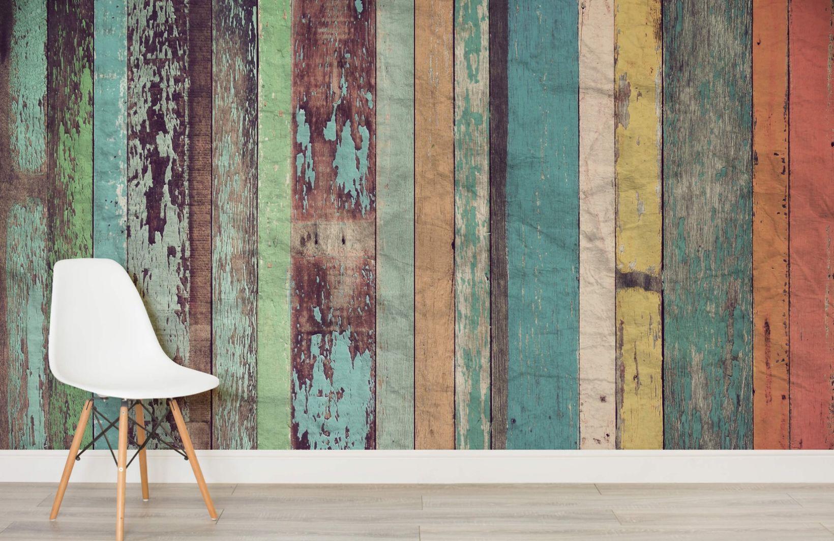 Worn Coloured Wood Wall Mural in 2020 Wood wallpaper