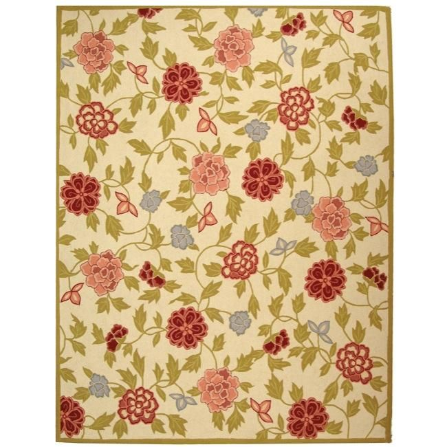 """Safavieh Traditional Hand-Hooked Garden Ivory Wool Area Rug (3'9"""" x 5'9""""), Size 3'9 x 5'9 (Cotton, Floral)"""